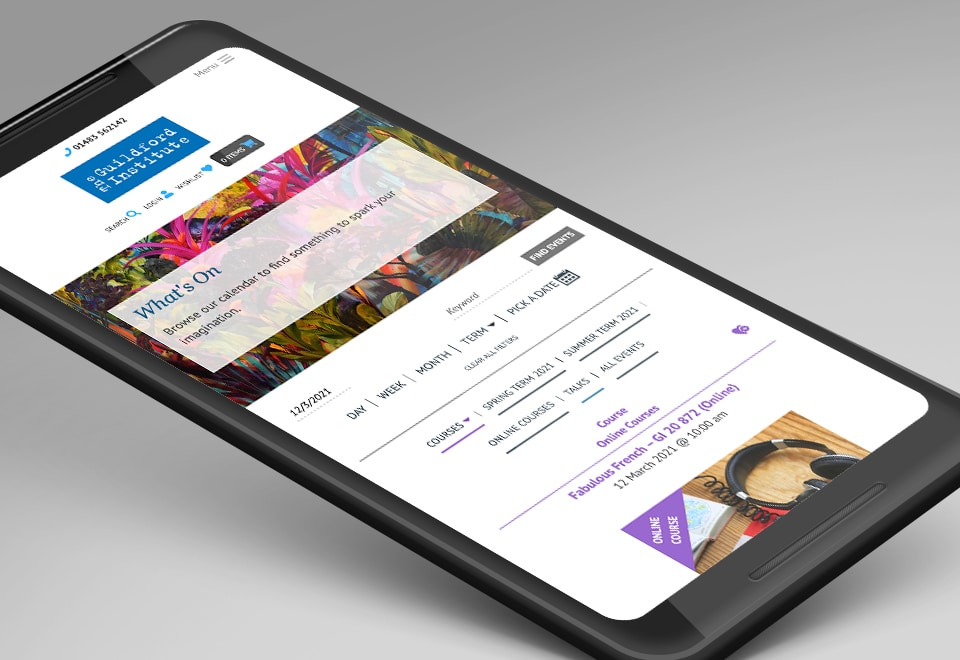 A visualisation of the Guildford Institute website on mobile