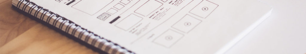 Wireframe sketches for a website layout