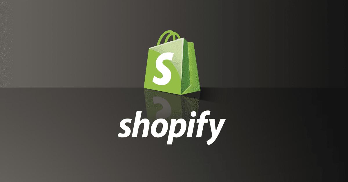 Shopify ecommerce logo on a dark grey background