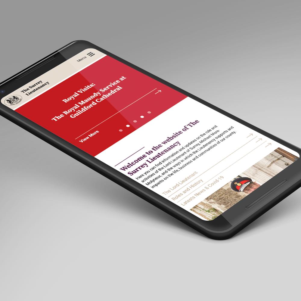 Surrey Lieutenancy website on mobile